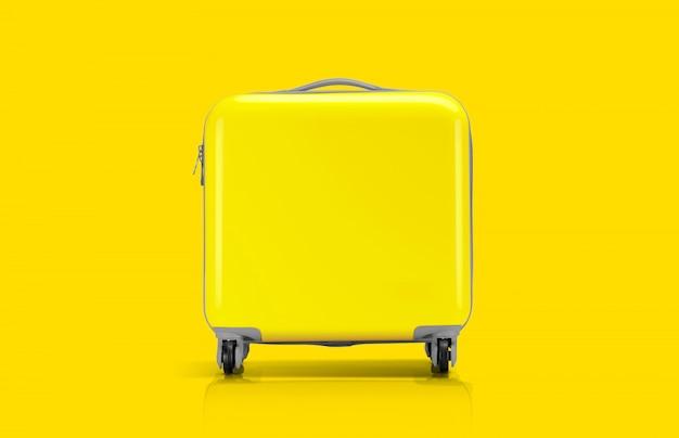 旅行者のための黄色いスーツケースまたは荷物