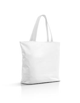 白で隔離される空白の白いキャンバストートバッグ