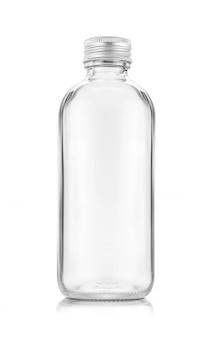 Пустая упаковка прозрачной стеклянной бутылки для напитков или медикаментов