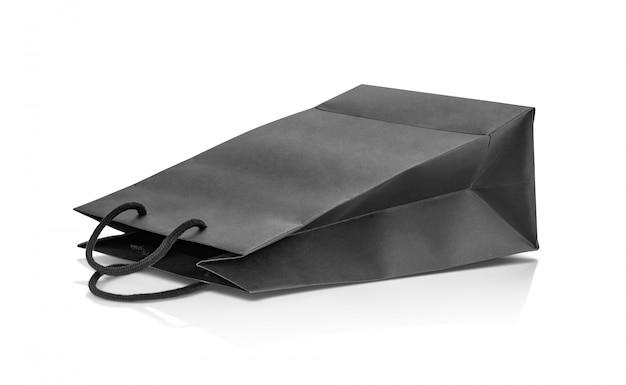 デザインのモックアップの空白の黒い紙のショッピングバッグ