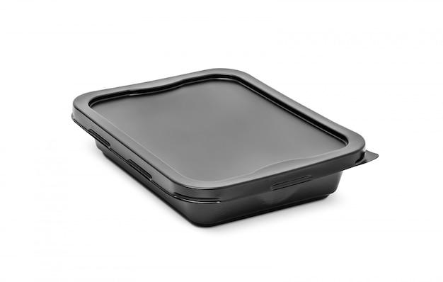 Черная пластиковая коробка для фаст фуд ланча