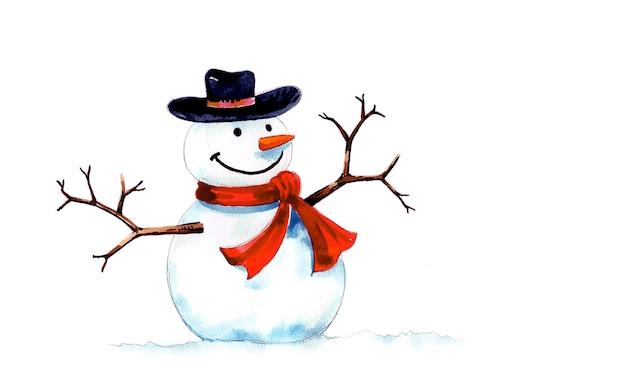手描きと水彩画で作られた黒い帽子と赤いスカーフと雪だるま