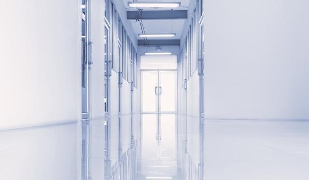 ゲートウェイからの照明付きの近代的な研究室または職場のインテリア