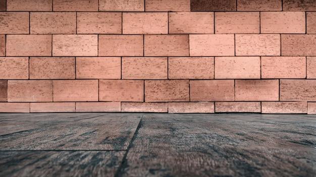 れんが造りの壁テクスチャと木製の床の背景