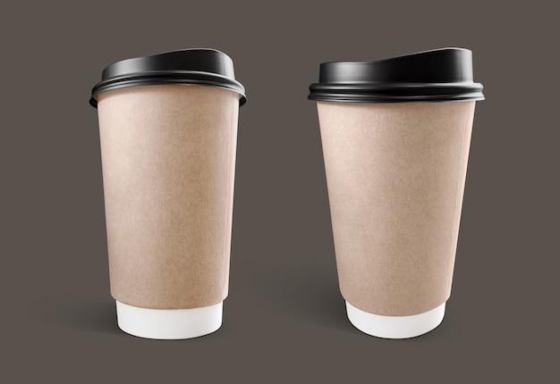 茶色のクラフトペーパーコーヒーカップ