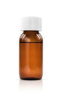 白い背景に分離された液体シロップ薬のための空白包装茶色のガラス瓶