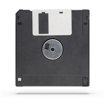 白い背景で隔離の3.5インチフロッピーディスクまたはディスケット