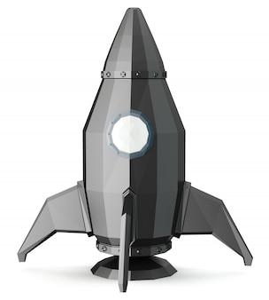 白い背景に分離された3 d宇宙ロケット