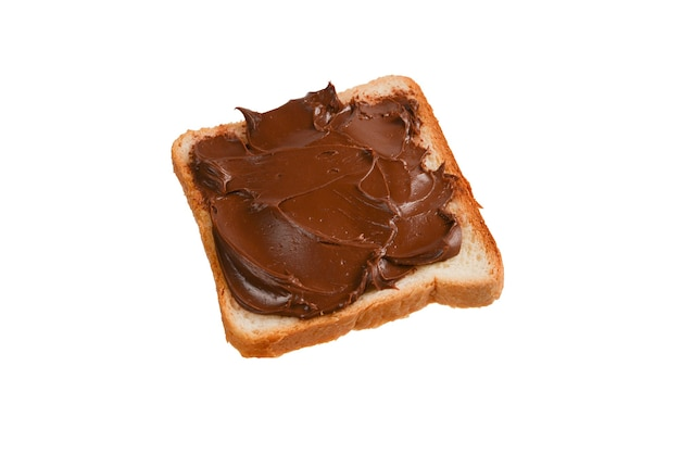 Ãâƒã'âãƒâ'ã'â¡白い背景で隔離のチョコレートペーストサンドイッチ。