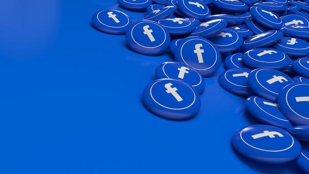 Много 3d глянцевых таблеток facebook в перспективе крупным планом