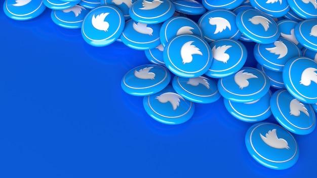 Много 3d глянцевых таблеток twitter на синем фоне в перспективе крупным планом