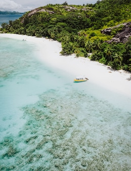 ヤシの木と孤独なボートのある手つかずの砂浜の空中写真。セイシェル