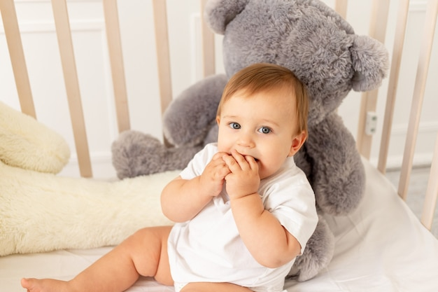 明るい部屋で大きなテディベアと一緒に6ヶ月の男の子がベビーベッドに座っています