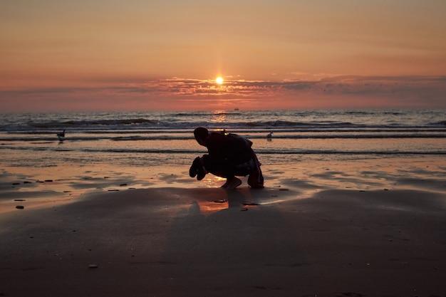 日没時のビーチで女性の背面図