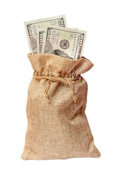 お金の袋。ざらざらした生地の袋に入ったドル