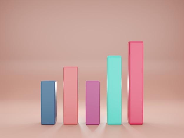 プレゼンテーション改善マーケティングdイラストレンダリングの3次元の棒グラフ