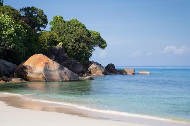 하얀 모래와 돌이있는 세이셸 섬의 해변