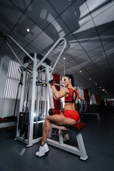 美しく、運動セクシーな女の子は、ジムでトレーニングをし、フィットネスを行います。フィットネス、ボディービル。