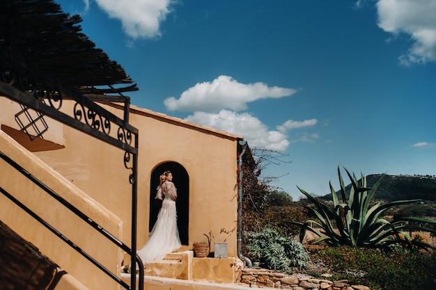 웨딩 드레스를 입은 아름다운 신부가 프로방스에서 촬영되었습니다.