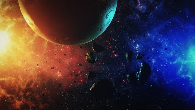 音と惑星のある小惑星の美しいカラフルな空間