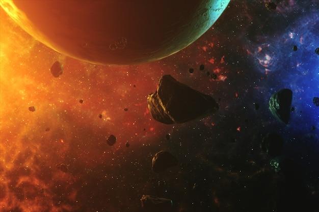 Красивое красочное пространство с астероидами со звуками и планетой