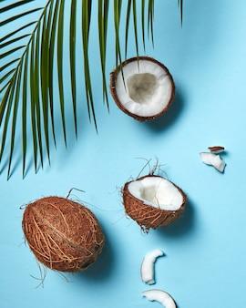 파란색 배경에 유기농 반쪽과 전체 코코넛의 아름다운 구성은 공간 사본이 있는 플라크 시트로 장식되어 있습니다. 플랫 레이