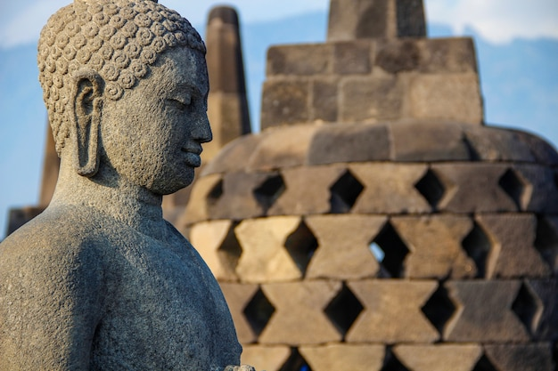 Красивая фигура в храме боробудур. индонезия
