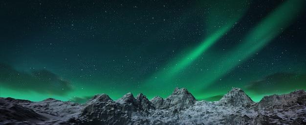 丘の上で踊っている美しい緑のオーロラ。