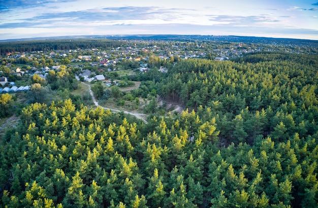緑のトウヒの森が広がる美しい大きな村