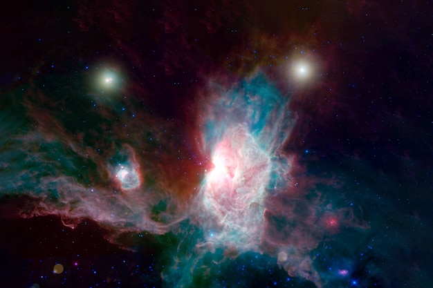 さまざまな色の美しい星雲この画像の要素はnasaによって提供されました