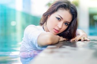 A beautiful sexy young Asian woman wearing