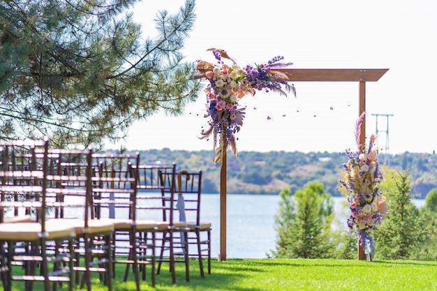 야외 결혼식을위한 아름다운 장소.