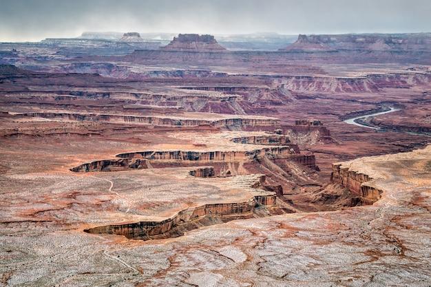 폭설 후 겨울의 아름다운 겨울날, canyonlands 국립 공원