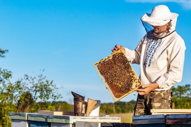 Пчеловод в защитной одежде держит раму
