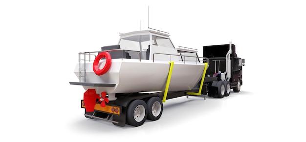 Большой черный грузовик с прицепом для перевозки лодки на белом фоне. 3d-рендеринг.