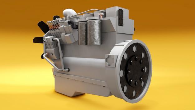 트럭과 함께 큰 디젤 엔진이 그려져 있습니다. 3d 렌더링.