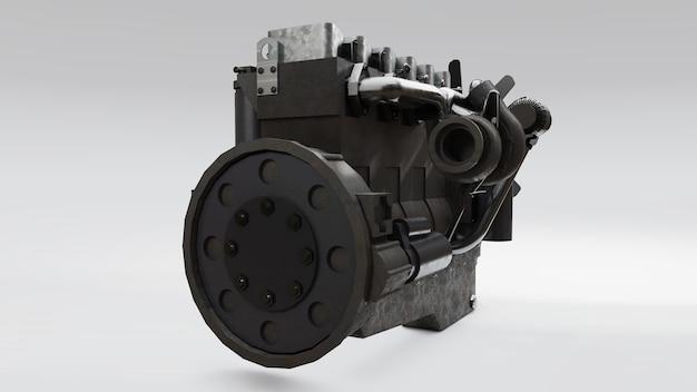 Большой дизельный двигатель с изображенным грузовиком. 3d рендеринг.