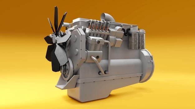 Большой дизельный двигатель с изображенным грузовиком. 3d-рендеринг.