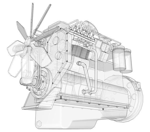 方眼紙の等高線に描かれたトラックを搭載した大型ディーゼルエンジン。白い背景の上の黒い線の輪郭。