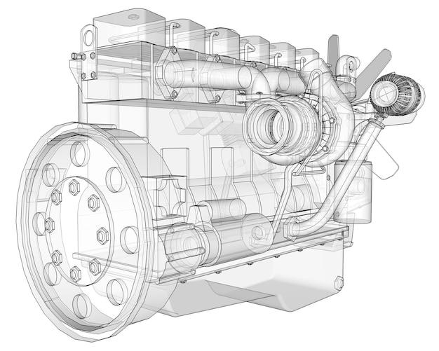 그래프 용지에 등고선으로 묘사된 트럭이 있는 대형 디젤 엔진. 흰색 바탕에 검은색 선의 윤곽.