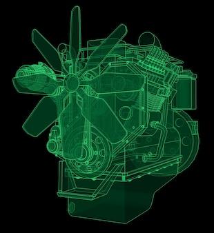 그래프 용지에 등고선으로 묘사된 트럭이 있는 대형 디젤 엔진. 검정색 배경에 녹색 선의 윤곽.
