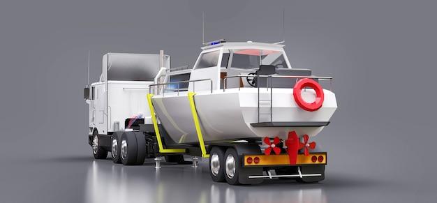 Большой белый грузовик с прицепом для перевозки лодки на сером фоне. 3d-рендеринг.