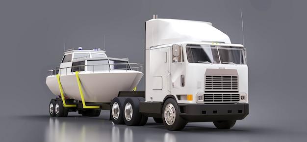 회색 표면에 보트를 운반하기위한 트레일러가있는 큰 흰색 트럭