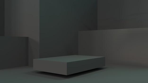 Черный подиум для рекламы товара. 3d-рендеринг. темная сцена с темным подиумом