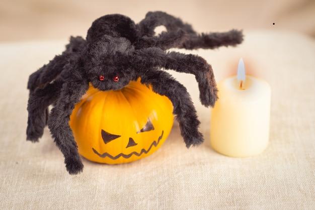빨간 눈을 가진 검은 얽히고 설킨 거미가 할로윈에 호박 위에 앉아 있고 근처에 하얀 촛불이 타고 있습니다.