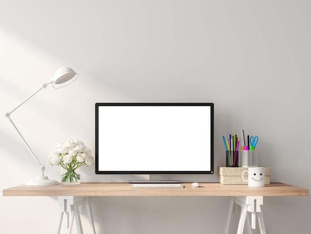 화이트 룸에서 나무 책상에 빈 컴퓨터 화면 3d 렌더링
