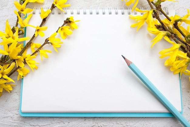 ノート用のメモ帳の空白のシート。春の枝と鉛筆。テキストのモックアップ