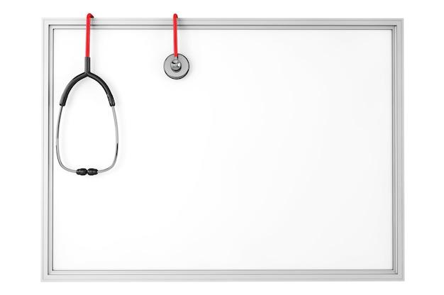 Пустая доска со стетоскопом на белом фоне