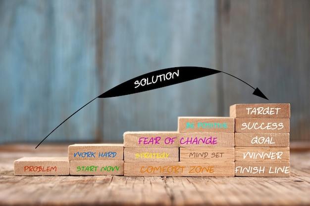 Блок со словом идея решения шага к успеху с копией пространства. бизнес-концепция