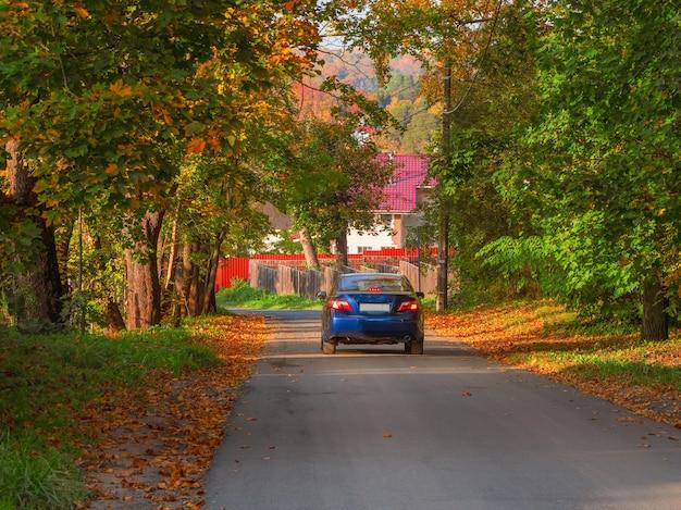 파란 차가 그늘진 교외의 가을 포장 도로를 따라 운전하고 있습니다. 배면도.